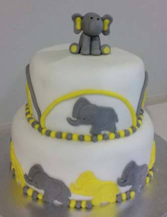 Elephant baby shower cake - eggless, egg free