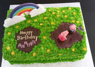 Peppa Pig birthday cake with 3D figurines